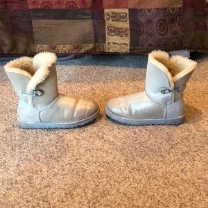 Ugg silver Bailey Button bling sheepskin boots 8